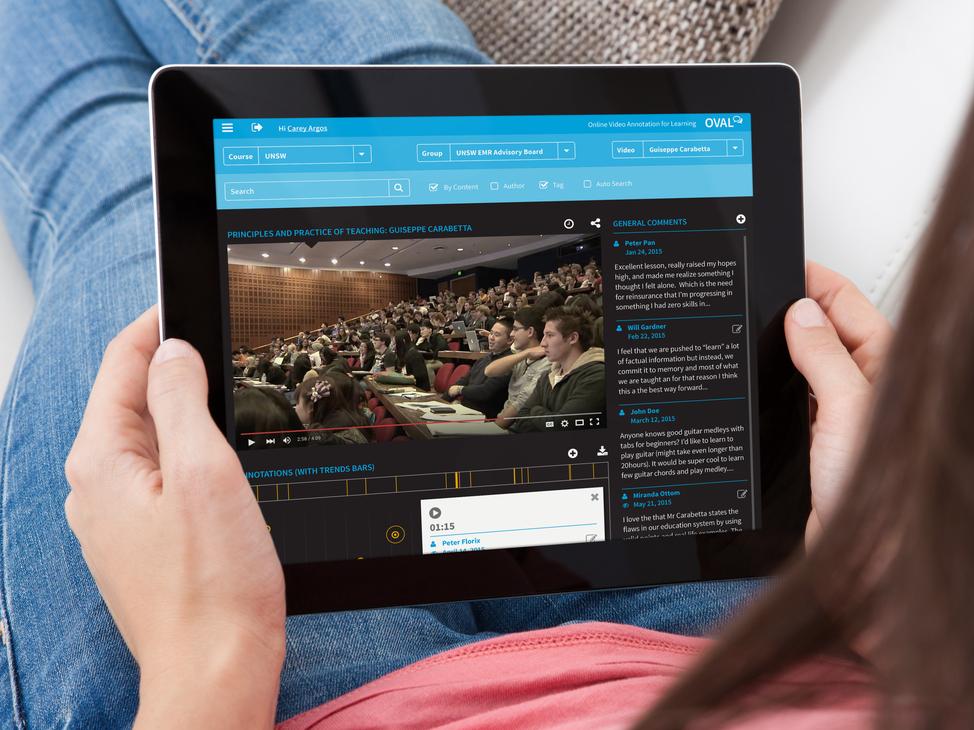 OVAL homepage screen