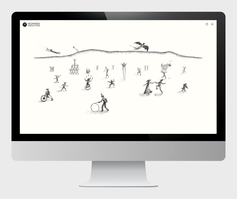 Mezmerize Productions website home page on a desktop