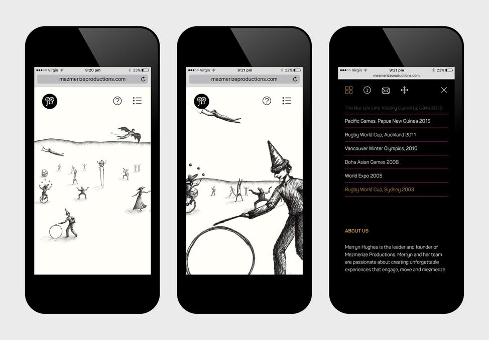 Mezmerize Productions website on a phone