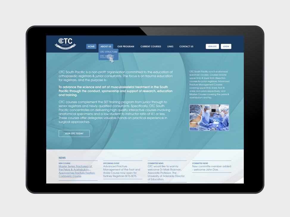 OTC website tablet view