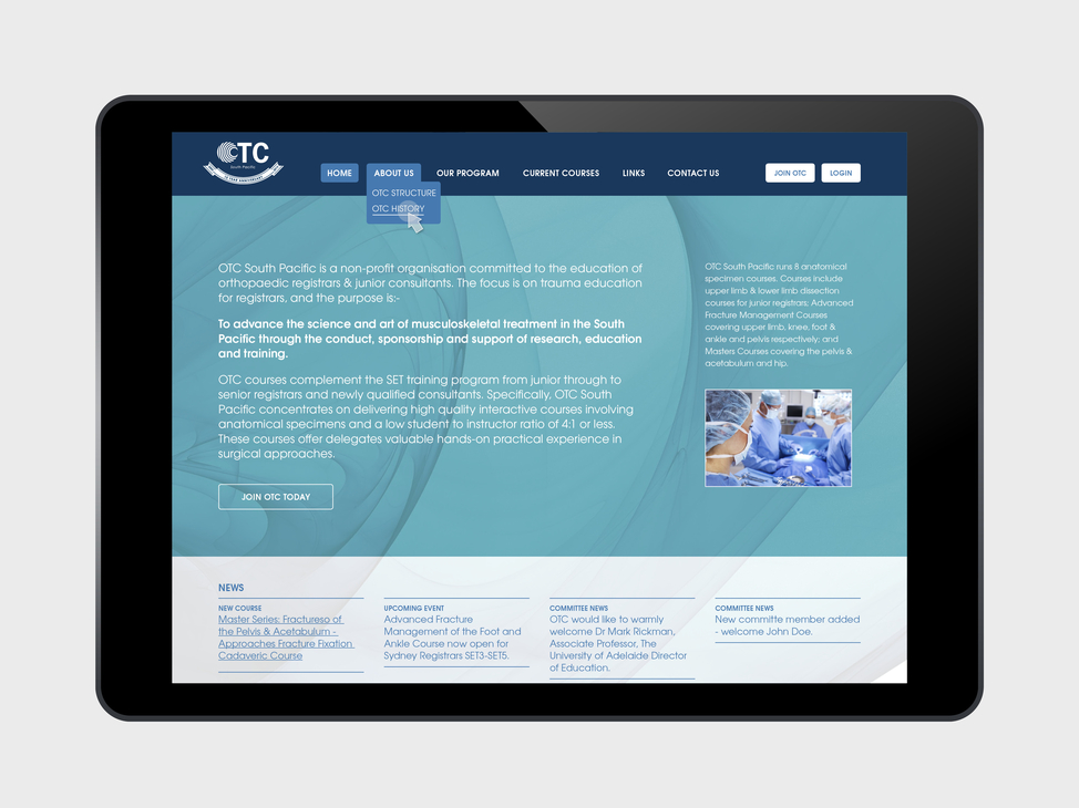 OTC website tablet view
