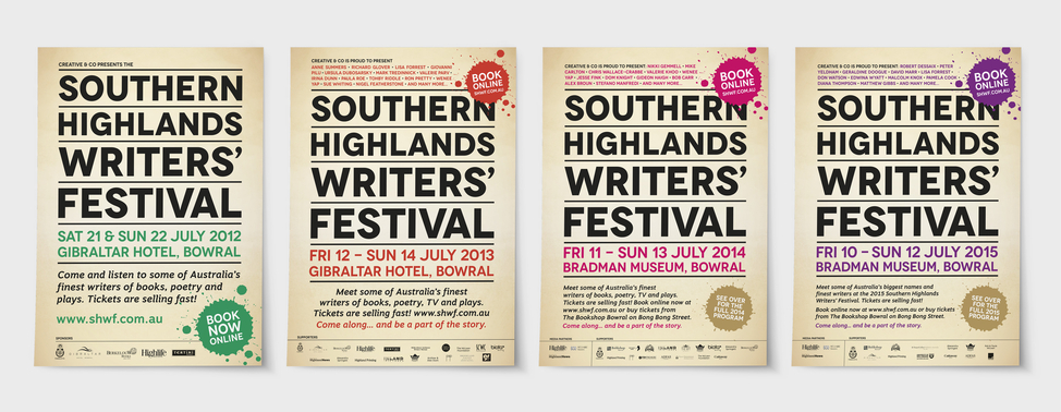Southern Highlands Writers' Festival posters over the years